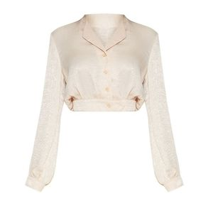 Prettylittlething Button Down Cropped Blouse